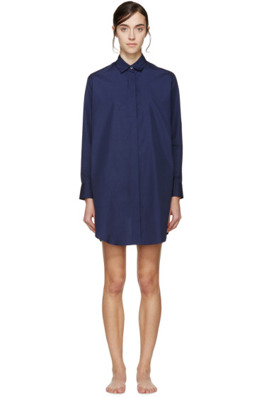 Raphaëlla Riboud - Navy Lace-Inset Marilyn Pyjama Shirt