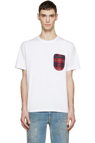 Mostly Heard Rarely Seen - White Plaid Pocket T-Shirt