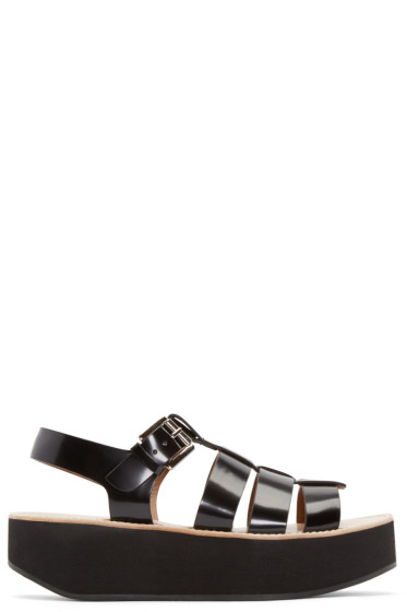 Flamingos - Black Patent Leather Citrus Sandals