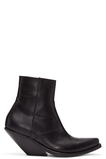 Vetements - Black Leather Chunky Cowboy Boots