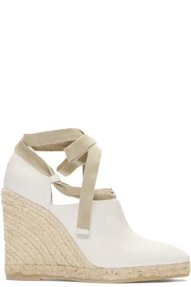 Loewe - White Leather Wedge Espadrilles