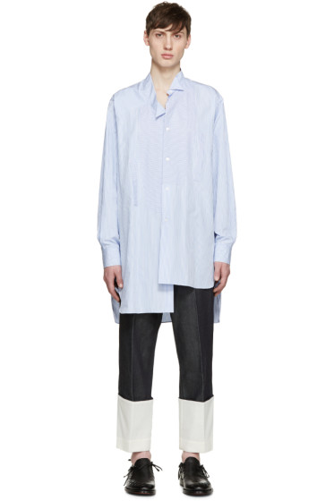Loewe - Blue & White Striped Asymmetric Shirt