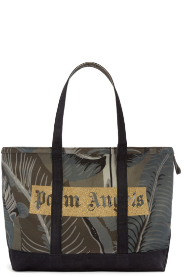 Palm Angels - Green Canvas Banana Leaves Tote