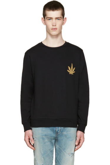 Palm Angels - Black Embroidered Leaf Pullover