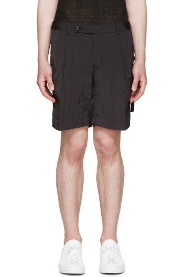 Wooyoungmi - Black Crinkled Tape Shorts