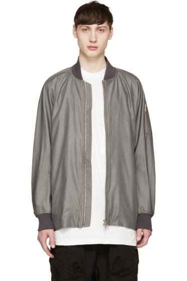 Attachment - Grey Satin Bomber Jacket