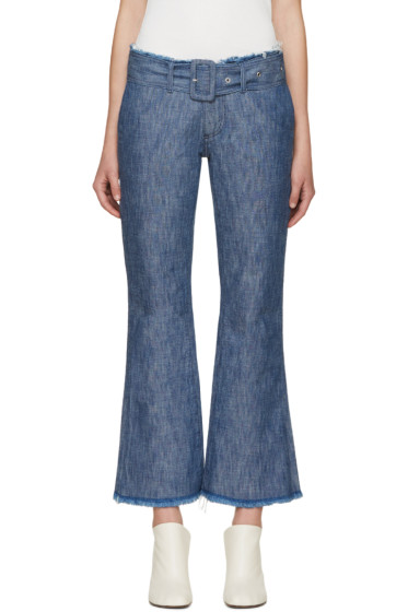 Marques Almeida - Blue Flared Capri Jeans