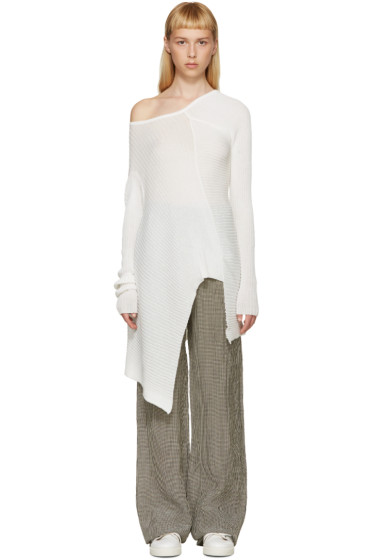 Marques Almeida - White Deconstructed Single-Shoulder Sweater