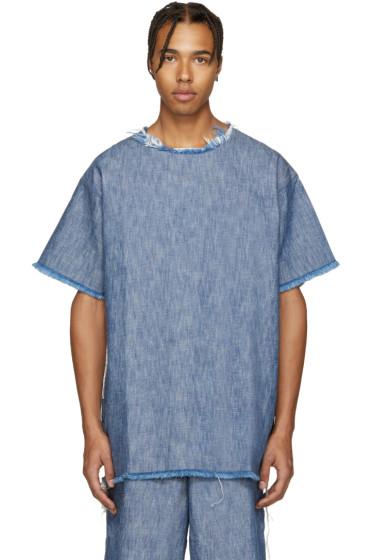 Marques Almeida - Blue Denim Frayed T-Shirt