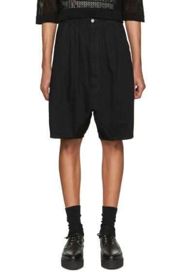 Kidill - Black Pleated Denim Shorts