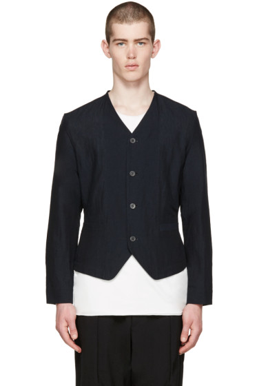 Issey Miyake Men - Navy Cotton-Linen Jacket