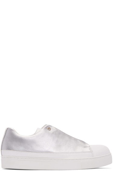 Issey Miyake Men - Silver Fly Front Sneakers