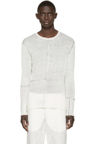 Isabel Benenato - Off-White Contrast Seam Sweater