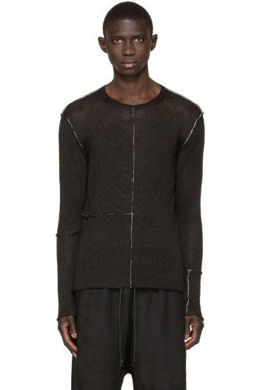 Isabel Benenato - Black Contrast Seam Sweater