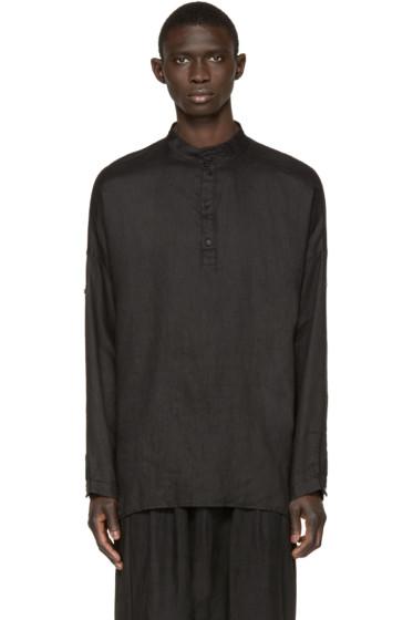 Isabel Benenato - Black Knit Panel Shirt