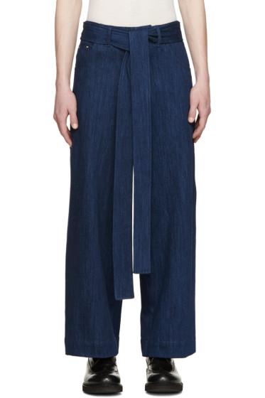 Craig Green - Blue Belted Wide-Leg Jeans