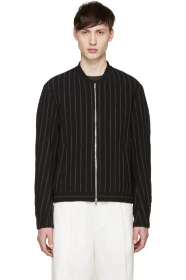 Tomorrowland - Black Wool Striped Bomber Jacket