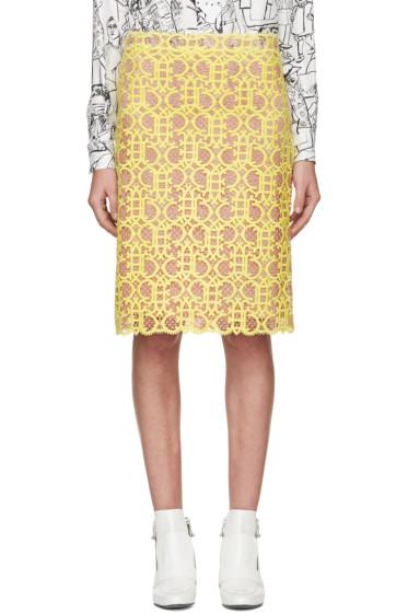 Emilio Pucci - Yellow & Pink Logo Lace Skirt