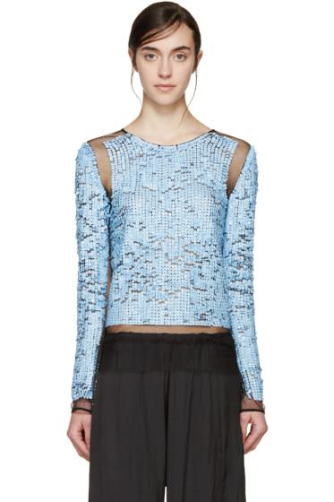 Emilio Pucci - Blue Mesh & Sequin Plisse Pullover