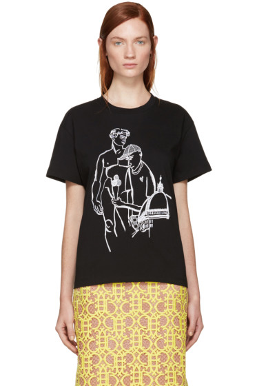 Emilio Pucci - Black Embroidered Ice Cream T-Shirt