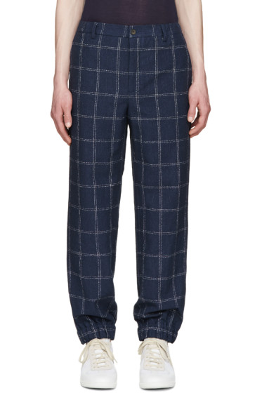 Éditions M.R  - Navy Linen Check Trousers