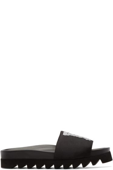 Joshua Sanders - Black Glitter LA Slide Sandals