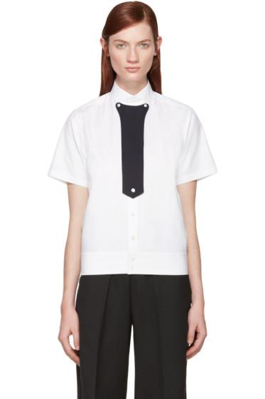 Hyke - White Stand Collar Shirt