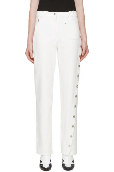 Courrèges - White Denim Twisted Button Trim Pants