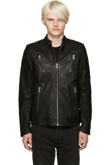 Diesel - Black Leather L-Rambo Jacket