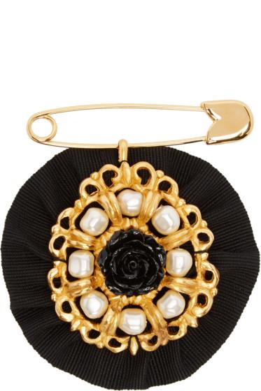 Dolce & Gabbana - Black Pearls & Roses Brooch