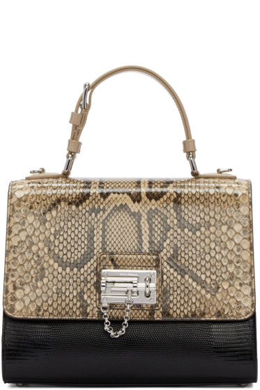 Dolce & Gabbana - Black & Beige Python Monica Bag