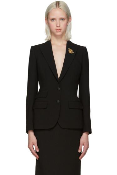 Dolce & Gabbana - Black Crepe Wool Bee Blazer