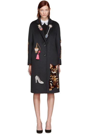 Dolce & Gabbana - Grey Embroidered Coat