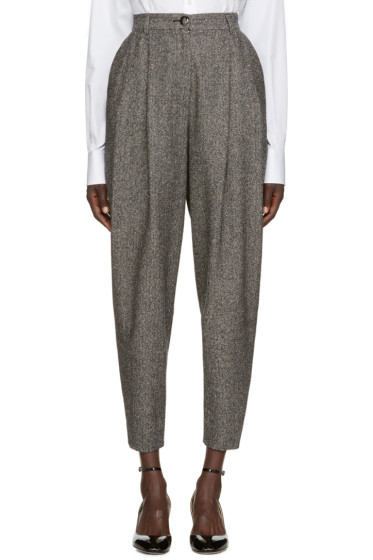Dolce & Gabbana - Black & White Herringbone Trousers