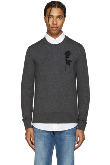Dolce & Gabbana - Grey Floral Embroidered Sweater