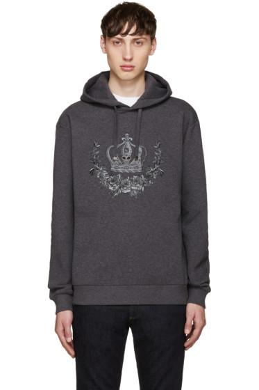 Dolce & Gabbana - Grey Embroidered Hoodie