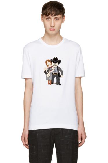 Dolce & Gabbana - White Cowboy Family T-Shirt
