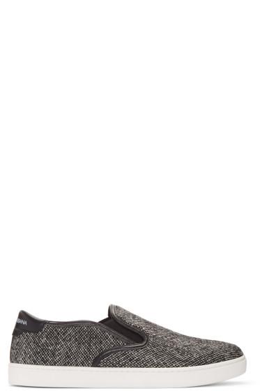 Dolce & Gabbana - Grey Tweed Slip-On Sneakers