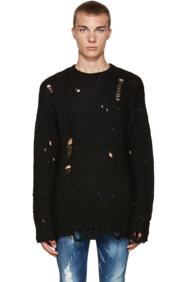 R13 - Black Alpaca Grunge Sweater