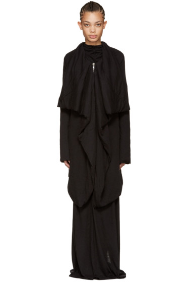 Rick Owens Lilies - Black Heavy Jersey Coat