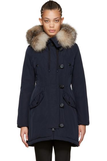 Moncler - Navy Down & Fur Aredhel Coat