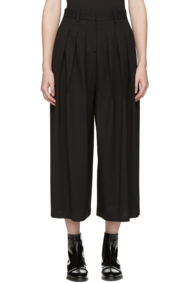 McQ Alexander Mcqueen - Black Pleated Wide-Leg Trousers