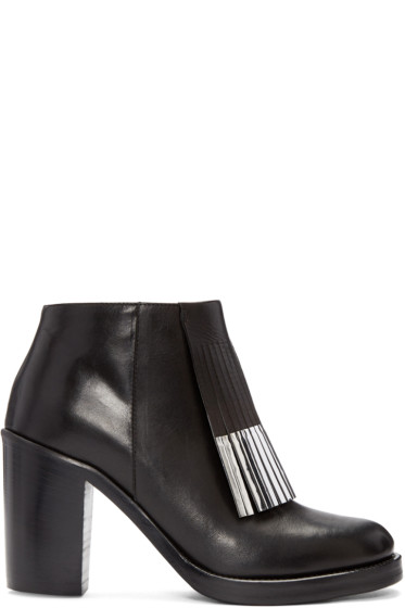 McQ Alexander Mcqueen - Black Wick Fringe Ankle Boots