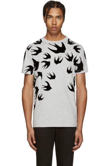McQ Alexander Mcqueen - Grey Swallows T-Shirt