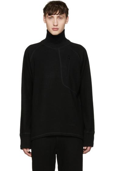 Y-3 - Black Wool Zip Turtleneck