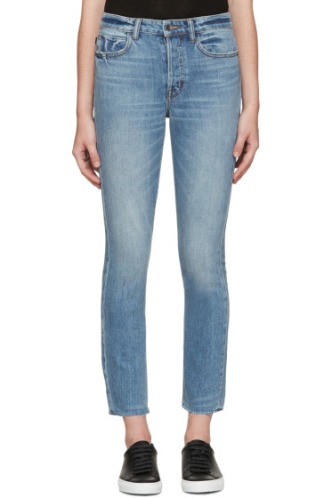 Helmut Lang - Blue High-Rise Fray Crop Jeans