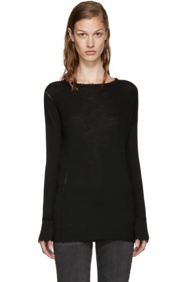 Helmut Lang - Black Merino Frayed Pullover