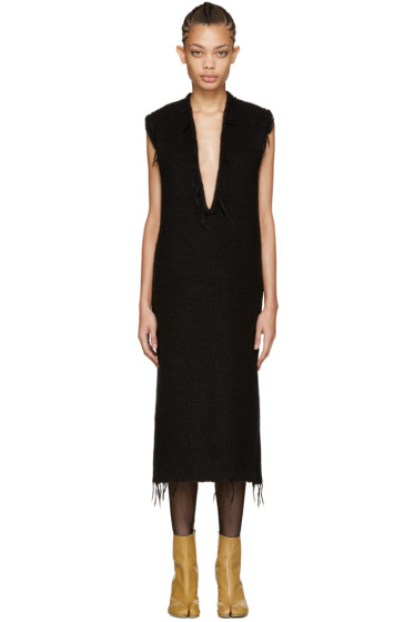Maison Margiela - Black Alpaca V-Neck Dress