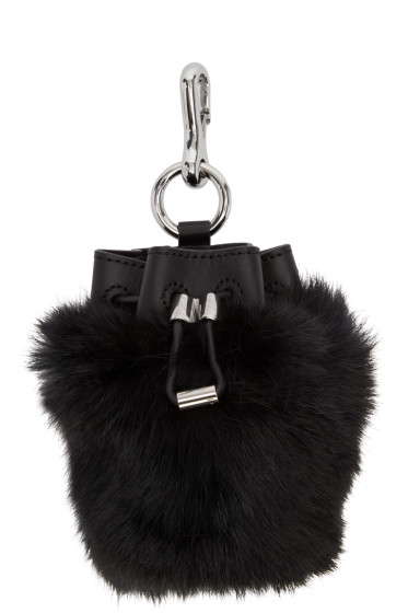 Alexander Wang - Black Fur Mini Roxy Keychain Pouch