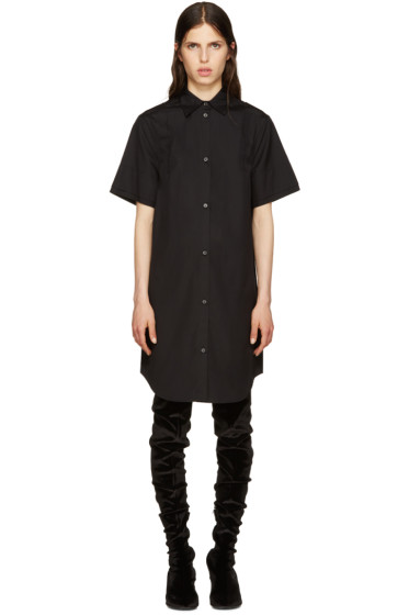 MM6 Maison Margiela - Black Poplin Shirt Dress